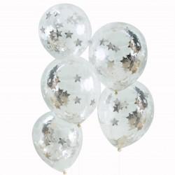 Sølv stjerne konfetti balloner fra GingerRay