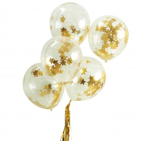 Guld stjerne konfetti balloner fra GingerRay