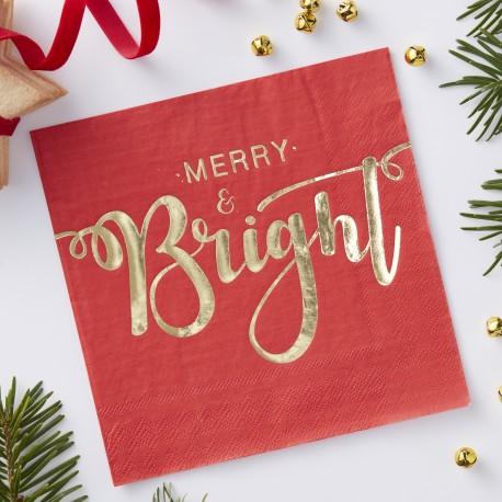 Røde juleservietter med guld skrift