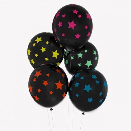 Sorte Balloner med farvede stjerner fra My Little Day