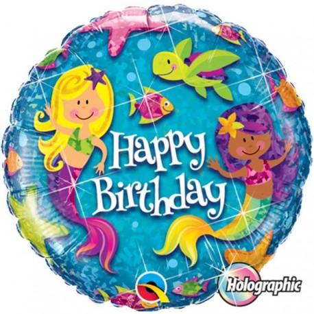 Havfrue Happy Birthday Ballon