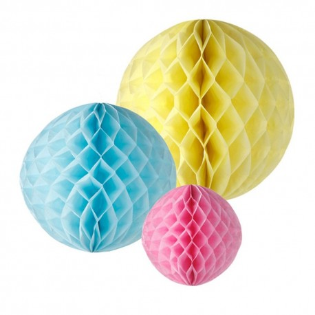 Tre Honeycombs i gul, pink og blå