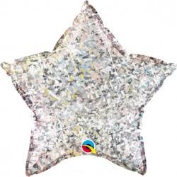 Sølv Glimmer Stjerne Folie Ballon til Helium i pakning