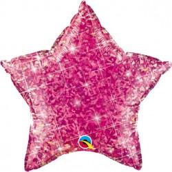 Pink Glimmer Stjerne Folie Ballon til Helium