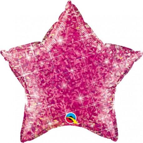 Glimmer Pink Stjerne Folie Ballon til Helium
