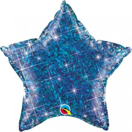Blå Glimmer Stjerne Folie Ballon til Helium