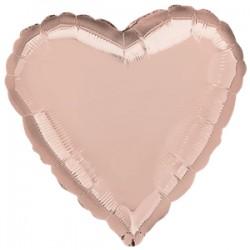 Rose Gold Hjerte Ballon til Helium