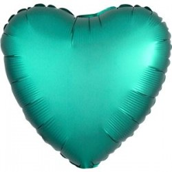 Smaragd Grøn Satin Hjerte Folie Ballon til Helium