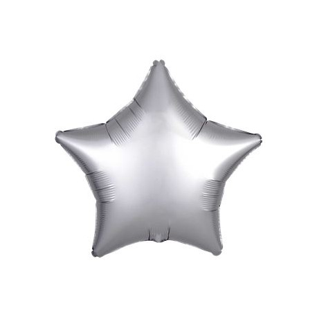 Sølv Satin Stjerne Folie Ballon til Helium
