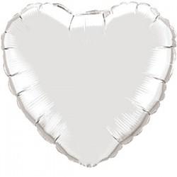 Sølv Hjerte Folie Ballon til Helium