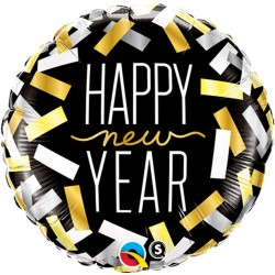 Nytårsballon med Happy New Year og konfetti Strips