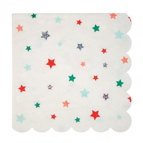 Stjerne Servietter i julefarver
