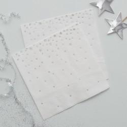 Kaffe eller cocktail servietter med sølv stjerner