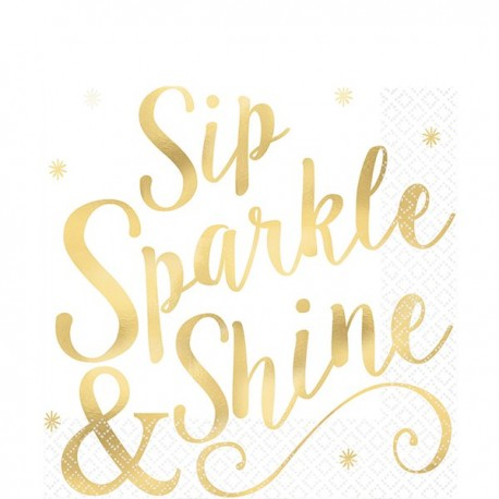 """Cheers to You - """"Sip, Sparkle & Shine"""" Servietter"""