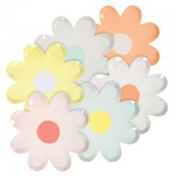 12 Blomster Tallerkner fra Meri Meri i et smukt tusindfryd design
