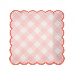 Lyserød ternet tallerken fra Meri Meri