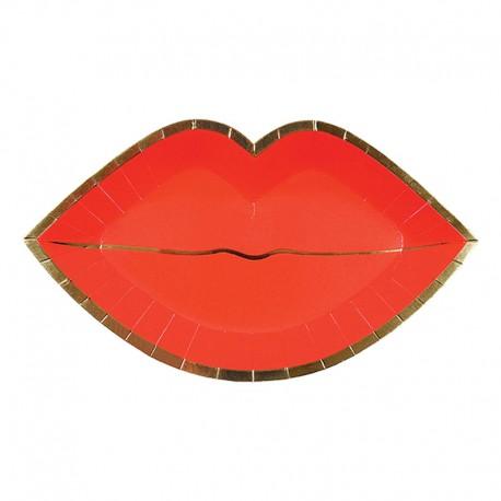 8 Kiss me tallerkner røde læber fra Meri Meri