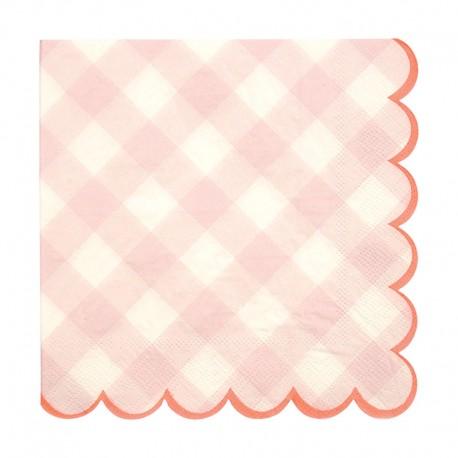 20 Lyserød pepita tern servietter fra Meri Meri fra deres Gingham serie