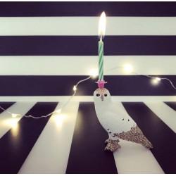 Hvid Ugle lysholder som caketopper til fødselsdagskage