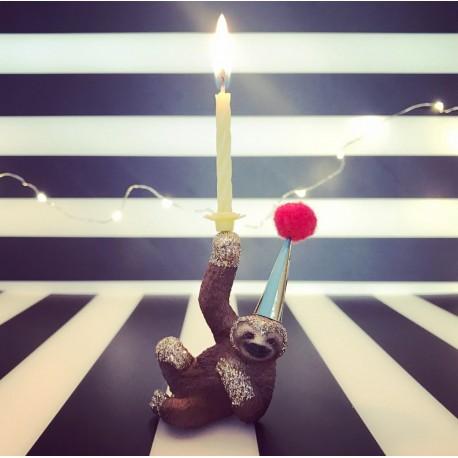 Dovendyr eller Sloth lysholder og kage topper til fødselsdagskage