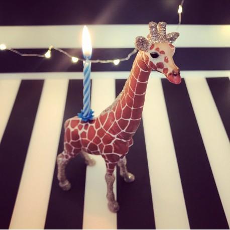 1 Giraf lysholder og caketopper til fødselsdagskage