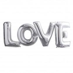 Kæmpe Sølv LOVE Ballonguirlande fra Gingerray