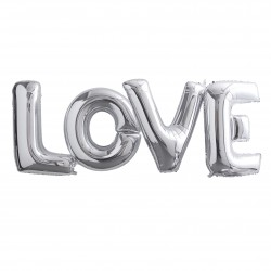 Kæmpe Sølv LOVE Ballonguirlande