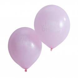Lyserøde Happy Birthday Balloner
