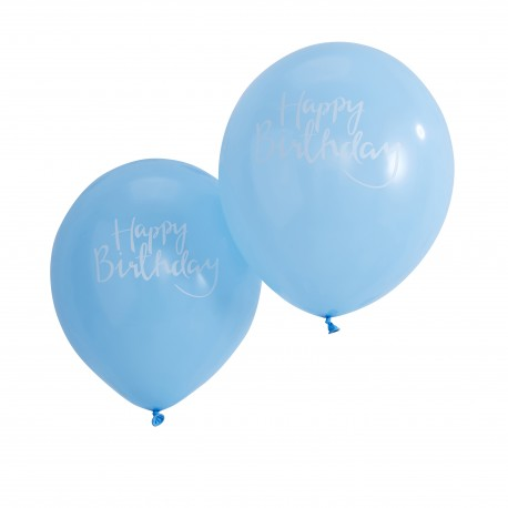 Blå Happy Birthday Balloner