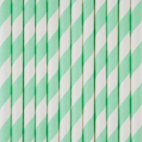 Stribede sugerør i aqua grøn fra franske My Little Day