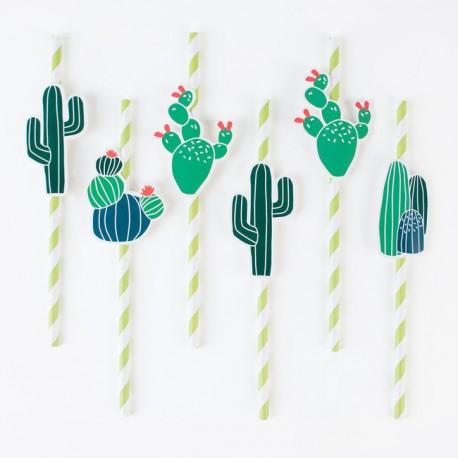 Stribede sugerør i lime grøn med kaktus fra franske My Little Day