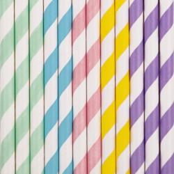 Pastel farvede stribede sugerør fra franske My Little Day
