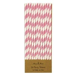 Pink stribede papirsugerør fra Meri Meri