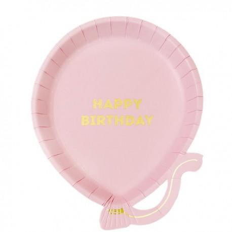 Ballon Happy Birthday Tallerkner i lyserød
