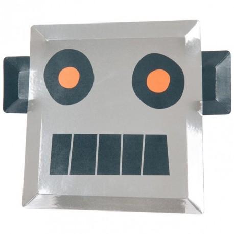 Robot Tallerken i Sølv Folie fra Meri Meri