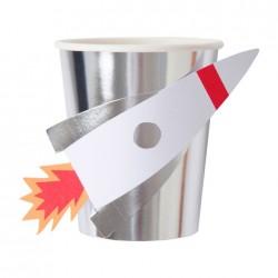 Raket papkrus i Sølv Folie fra Meri Meri