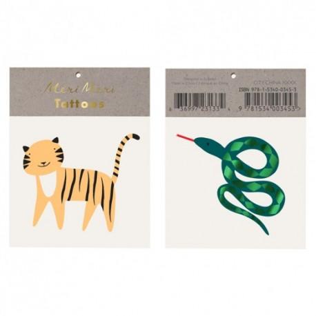 Safari Tatovering med en Slange og en Tiger