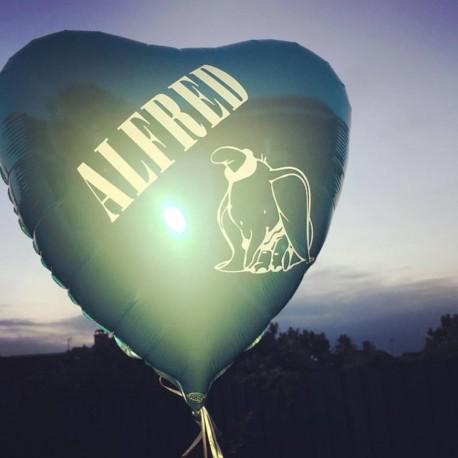 Skrift til Folie Ballon med Navn og dyr til barnedåb, fødselsdag og babyshower