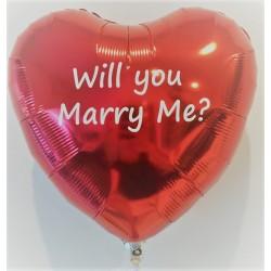 Design en stort hjerte folie ballon med skrift