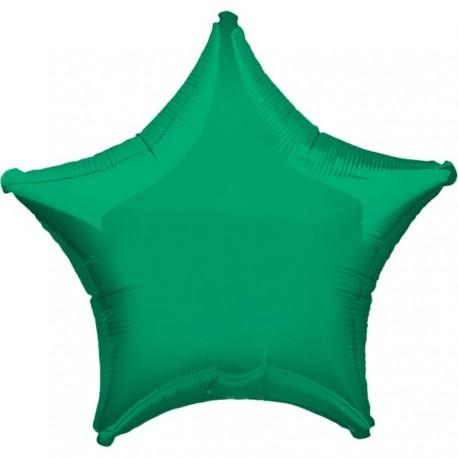 Mørkegrøn Folie Stjerne Ballon til Helium