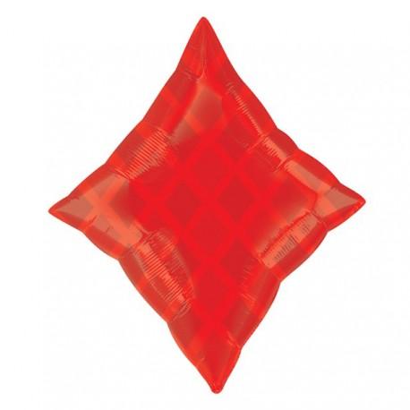 Rød Ruder Folie Ballon til Helium