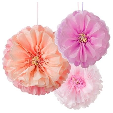 Blomster pompom'er i sarte toner fra engelske Talking Tables