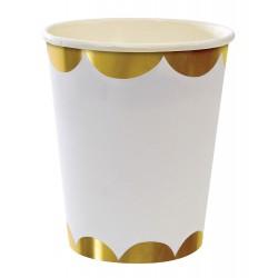 Hvide kopper med bølget guldkant i toot sweet serien