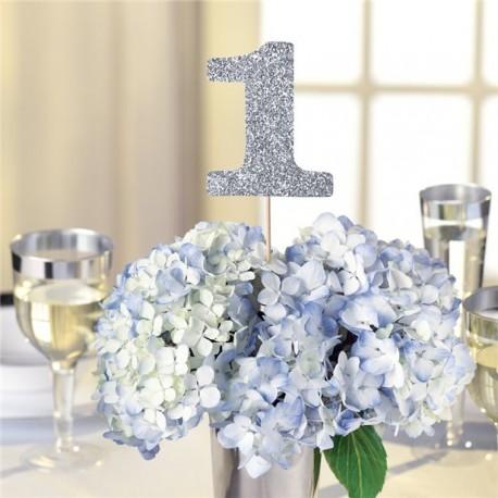 Bordnumre i sølv med glimmer