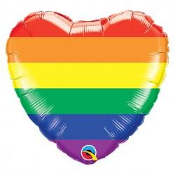 Regnbue farvet hjerte folieballon