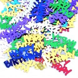 Happy Birthday konfetti i regnbuens farver