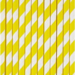 25 gule og hvid stribede sugerør fra My Little Day