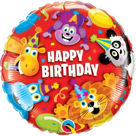 Fødselsdagsballon med masser af dyr