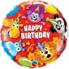 Fødselsdagsballon med masser af dyr klar til fest og farver