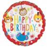 Happy Birthday ballon med masser af dyr klar til fest og farver